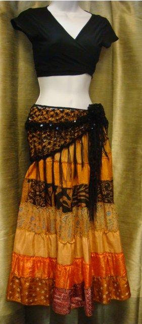 sari coral skirt