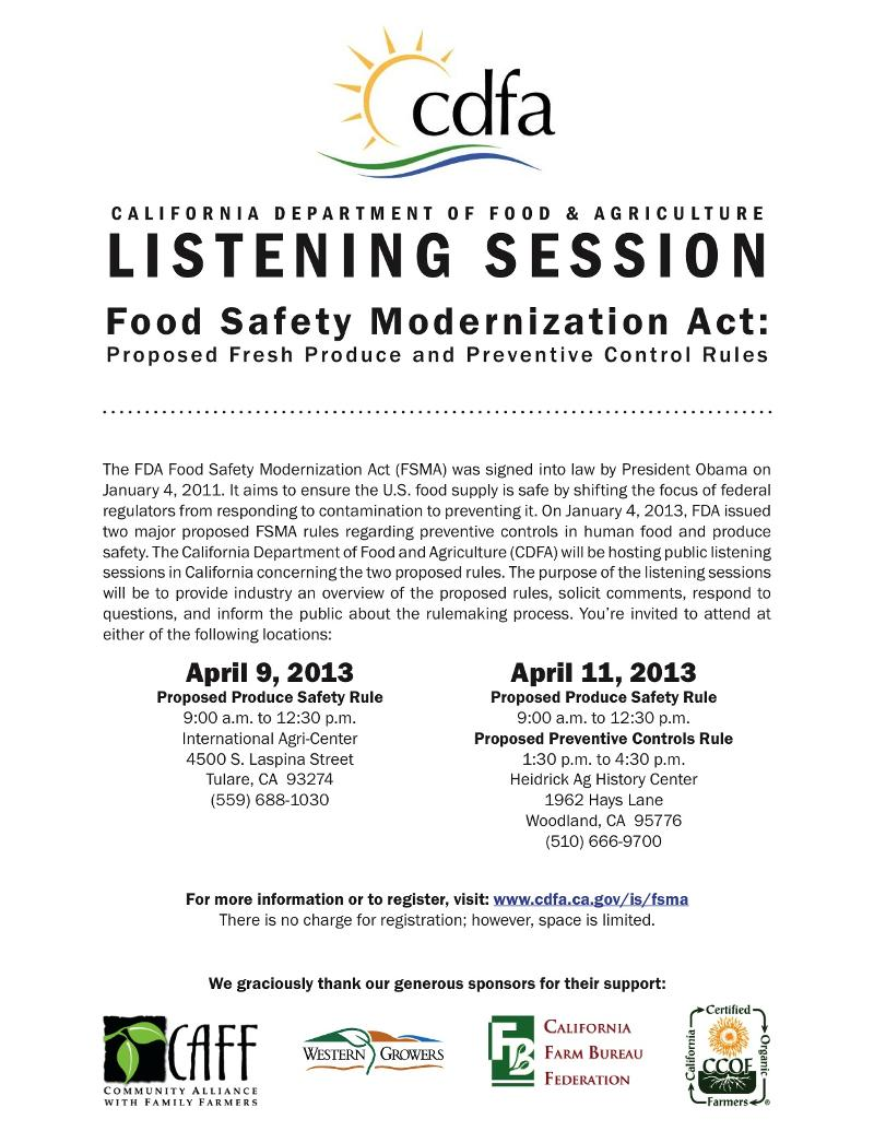 CAFF is helping to sponsor 2 listening sessions on the FSMA