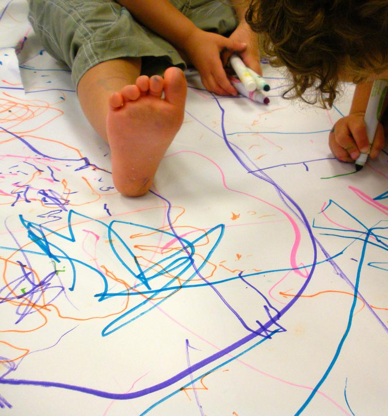 Toddler coloring bare feet 7.11