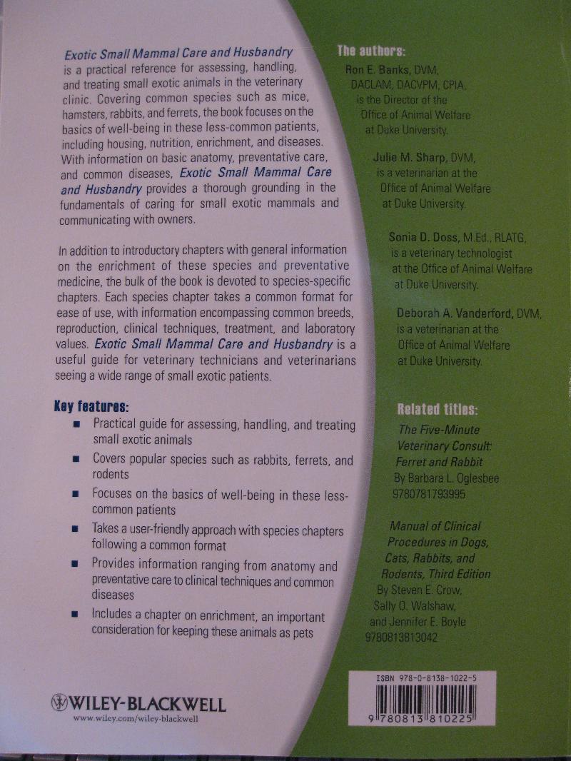 NAVTA book cover Exotic Sm Mammals back