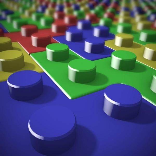Blocks of lego stared on tetris game