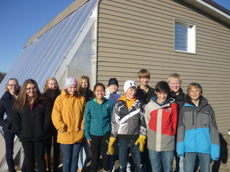 New London-Spicer YES! students at their new passive solar greenhouse