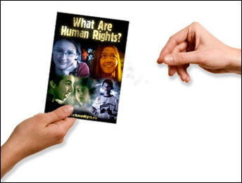 "Give ""What are Human Rights?"" booklet"