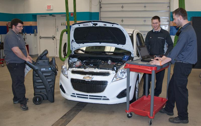 Students work with the Chevy Spark
