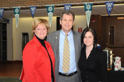 Dr. Rowell, Sen. Brown, Student Sue Kestranek