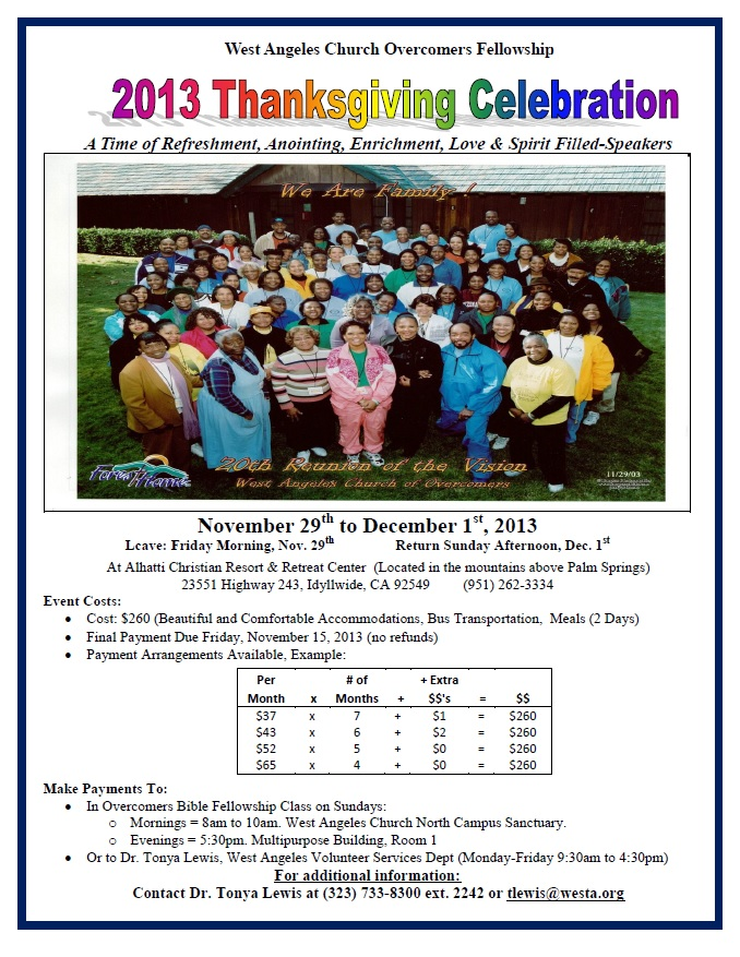 2013 Thanksgiving Retreat flyer