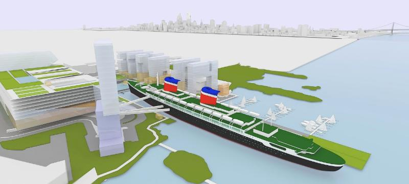 Rendering of the SS United States in Philadelphia