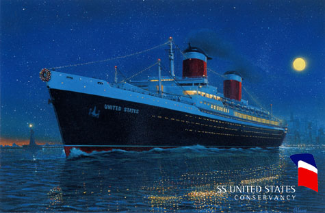 The SS United States circa 1955 by George Gaadt