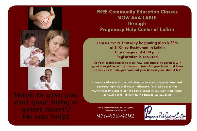 Pregnancy HELP Free Community Education Thursdays at El Chico in Lufkin.