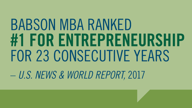 Babson MBA No.1 for 23 Consecutive Years