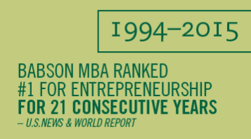 Babson MBA Ranked #1 for Entrepreneurship for 21 Consecutvie Years