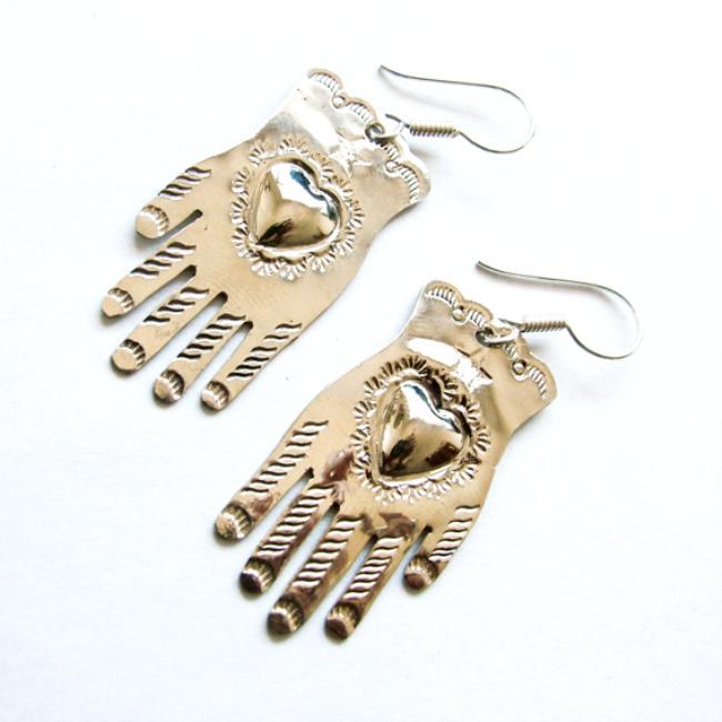 hand, heart, earrings