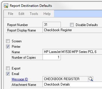 report destinations