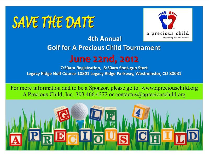 2012 Golf For A Precious Child save the date