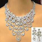 dramatic crystal necklace set