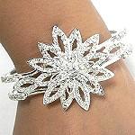 Rhinestone Flower Cuff Bracelet