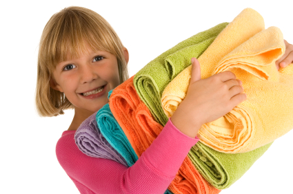 Girl and towels