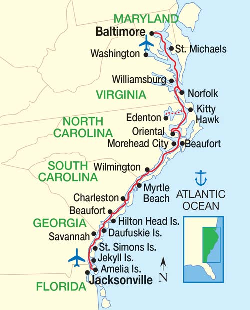 Map East Coast North Carolina North Carolina Coastal Towns