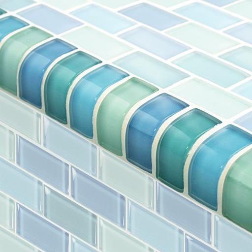 Ceramic bath edging tiles