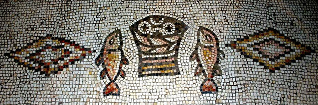 6th c. mosaic (detail), Church of the Multiplication of Loaves and Fishes, Tabgha, Israel.