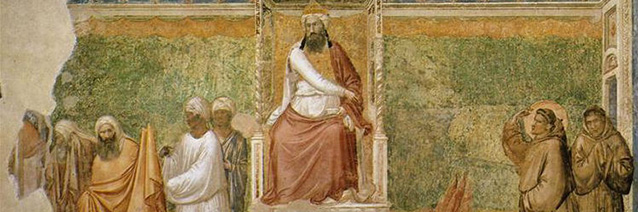Scenes from the Life of Saint Francis: Trial by Fire of St. Francis of Assisi before the Sultan of Egypt (fresco detail), c. 1320, Giotto di Bondone, Santa Croce, Florence, Italy.