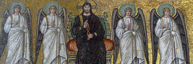 Christ surrounded by angels and saints (detail). Mosaic of a Ravennate italian-byzantine workshop, completed within 526 AD by the so-called