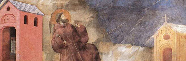 St. Francis receiving the Stigmata _detail__ by Giotto de Bondone from the Legend of St. Francis_ 1297-1300. San Francesco_ Upper Church_ Assisi_ Italy.