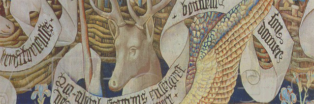 The Winged Deer (tapestry detail), French School (15th century), Musee des Antiquities, Rouen, France, Peter Willi, The Bridgeman Art Library.