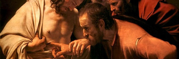 Thomas pokes his finger into the wound on the resurrected Jesus' chest with a look of disbelief on his face.