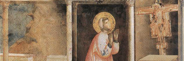 The Legend of St. Francis: 4. Miracle of the Crucifix (fresco detail). 1297-99, Giotto di Bondone, Upper Church, San Francesco, Assisi, Italy.