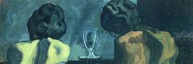 Two Women Sitting at a Bar _detail__ Pablo Picasso_ 1902_ Blue Period_ Royal Academy of Arts_ London_ UK