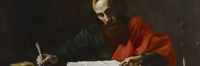 St. Paul Writing His Epistles (detail), circa 1618-1620, attributed to Valentin de Boulogne (1591-1632).