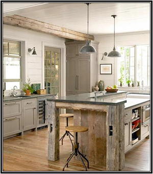 A neutral color pallet helps create the perfect background for this relaxed but rustic kitchen.