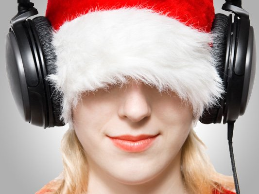 girlsantahatheadphones