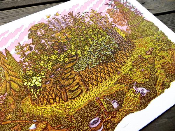 GARDEN Woodcut Print by Tugboat Printshop