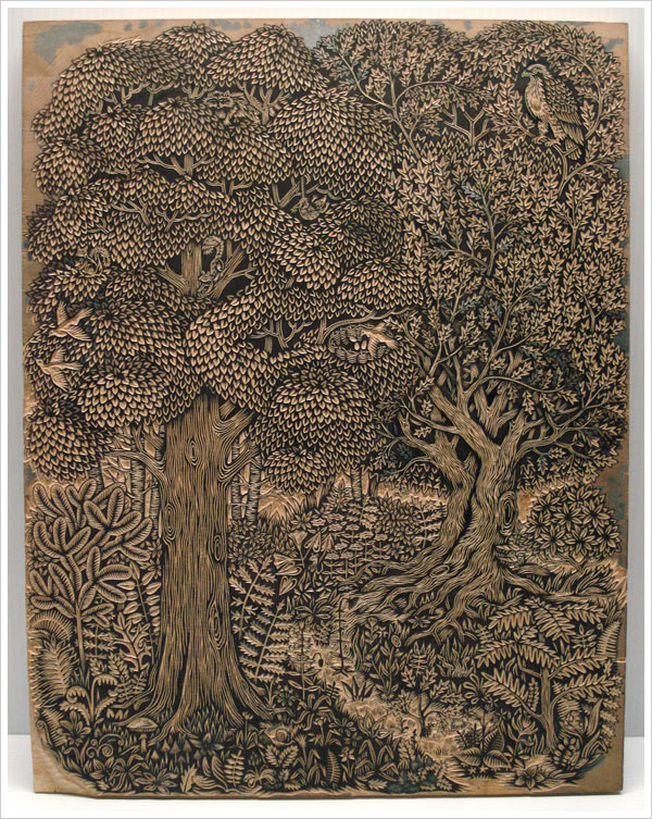 Key woodblock in the new forest woodblock print by Tugboat Printshop!