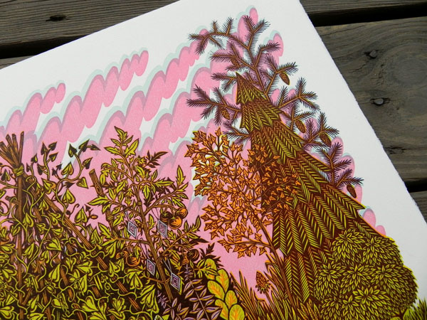 GARDEN Woodcut Print by Tugoboat Printshop (detail)