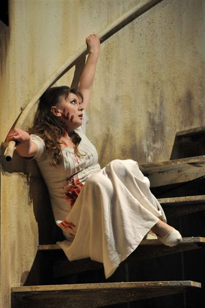 Petrova as Lucia on staircase