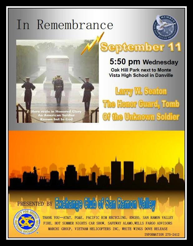 9 11 San Ramon exchange club event