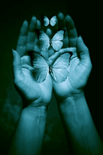blue hands and butterflies