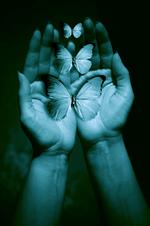 blue hands and butterflies
