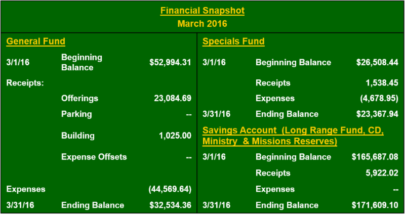 March 2016 financial snapshot