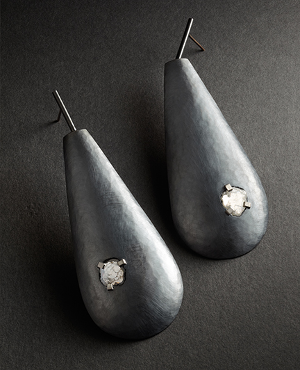 Sandra Enterline - Diamond Paddle Drop Earrings; oxidized sterling silver, 1.4 cts diamond slices, palladium, 10k white gold.