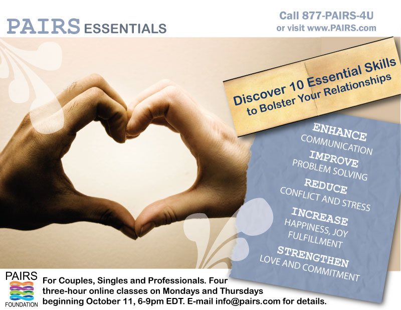 PAIRS Essentials Webinar for Couples, Singles and Professionals - Begins Monday, October 11th
