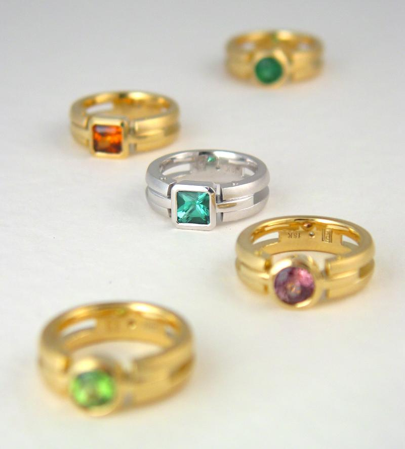 18k Gold & Platinum Gemstone Rings