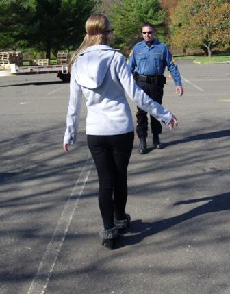 Walking sobriety test