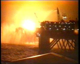 Piper Alpha Oil Rig Ablaze