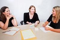 3 happy female employees