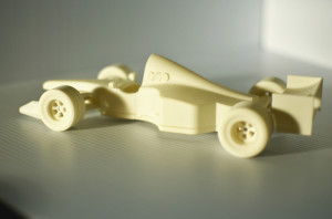 model 3-D car produced with MU COE's prototyping equipment