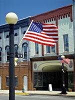 US flag storefront